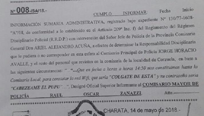 """Escándalo porque la Comisaría de Corzuela tenía una red WiFi que se llamaba """"Colgate de esta"""""""